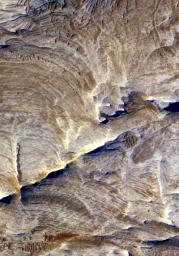 Tectonic fractures within the Candor Chasma region of Valles Marineris, Mars, retain ridge-like shapes as the surrounding bedrock erodes away
