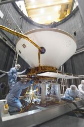 Inside a thermal vacuum at Lockheed Martin Space Systems, Denver, technicians prepared NASA's Phoenix Mars Lander for environmental testing.