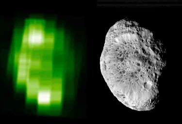 In this ultraviolet image of Hyperion, produced using data taken NASA's Cassini Ultraviolet Imaging Spectrograph during the September 2005 close flyby, brightness contrasts are due to both topographic and compositional variations across the surface.