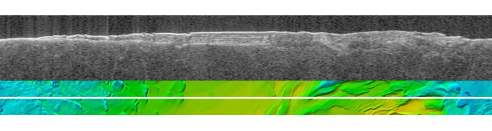 The upper image is a radargram showing data from the subsurface of Mars in the ice-rich layered deposits that surround the south pole. The lower image shows the position of the ground track (white line) on a topographic map