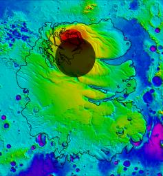 This map shows the topography of the south polar region of Mars. The elevation of the terrain is shown by colors, with purple and blue representing the lowest areas, and orange and red the highest