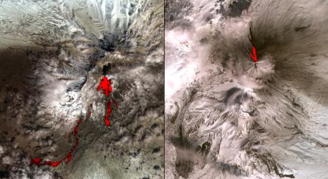 One of the most volcanically active regions of the world is the Kamchatka Peninsula in eastern Siberia, Russia. It is not uncommon for several volcanoes to be erupting at the same time. NASA's Terra satellite acquired this image on April 26, 2007