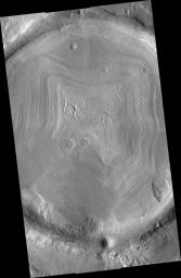 Impact Crater Filled With Layered Deposits