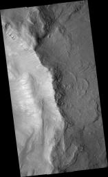Gullies in Inner Slope of Crater and Exposed Bedrock