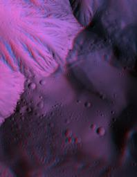 This anaglyph from NASA's Mars Reconnaissance Orbiter spacecraft, shows Olympus Mons, the largest volcano in the Solar System. Constructed of lava flows, many aspects of this titanic volcano remain puzzling. 3D glasses are necessary to view this image.