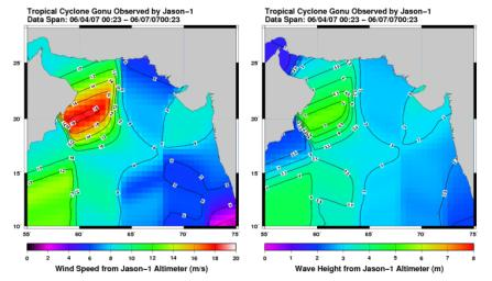 This pair of images from the radar altimeter instrument on NASA's US/France Jason mission revealed information on wind speeds and wave heights of Tropical Cyclone Gonu, which reached Category 5 strength in the Arabian Sea prior to landfall in early June.