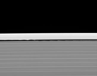 Saturn's moon, Daphnis and its entourage of edge waves are captured here by NASA's Cassini spacecraft. The wave pattern caused by Daphnis in the edges of the Keeler Gap can be likened to a standing ripple in a flowing stream.