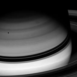 Dark shadows are an ever-present part of Saturn's already twilit world, where the Sun's rays are a hundred times more feeble than at Earth. This image was taken with NASA's Cassini spacecraft's wide-angle camera on Feb. 25, 2008.