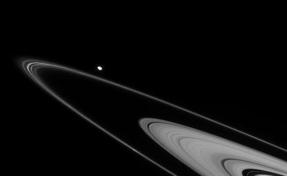 Faint ringlets abound in this view of Saturn's F and outer A rings. The oblong moon Pandora, overexposed in this image from NASA's Cassini spacecraft on Mar. 4, 2008, is also seen.