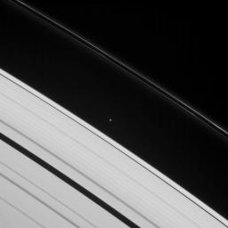 This image taken by NASA's Cassini spacecraft shows Atlas, one of two moons that ply Roche Division -- the region between Saturn's A and F rings. Prometheus also orbits within this division.
