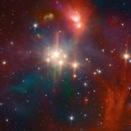 This image from NASA's Spitzer Space Telescope shows young stars plus diffuse emission from dust. The Corona Australis region (containing, at its heart, the Coronet cluster) is one of the nearest and most active regions of ongoing star formation.