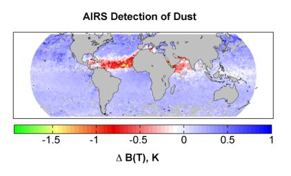 AIRS Detection of Dust: Global Map for July 2003