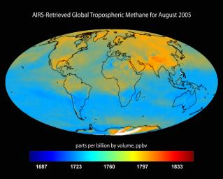 AIRS-Retrieved Global Tropospheric Methane for August 2005