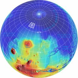 This is an orthographic projection with color-coded elevation contours and shaded relief based on data from the Mars Orbiter Laser Altimeter on NASA's Mars Global Surveyor orbiter.