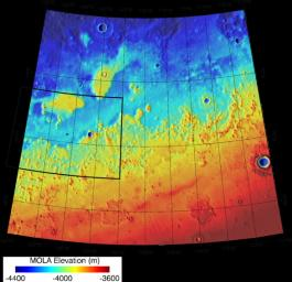 This area was designated 'Region D' in the process of evaluating potential landing sites for NASA's Phoenix Mars Lander. The topographical information is from the Mars Orbiter Laser Altimeter on NASA's Mars Global Surveyor orbiter.