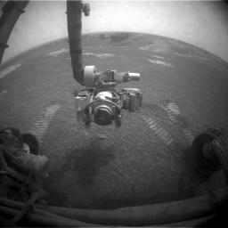 NASA's Mars Exploration Rover Opportunity used its front hazard-identification camera to obtain this image at the end of a drive on the rover's 1,271st sol, or Martian day (Aug. 21, 2007).