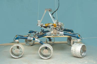 The team developing NASA's Mars Science Laboratory calls this test rover 'Scarecrow' because the vehicle does not include a computer brain. Mobility engineers use this test rover to evaluate mobility and suspension performance.