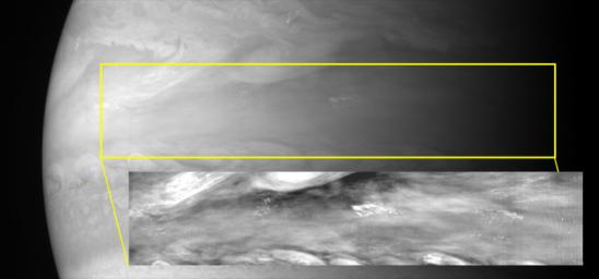 With its Multispectral Visible Imaging Camera (MVIC), half of the Ralph instrument, New Horizons captured several pictures of mesoscale gravity waves in Jupiter's equatorial atmosphere.
