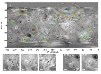 A global map of Jupiter's moon Io derived from eight images taken by the Long Range Reconnaissance Imager (LORRI) on the New Horizons spacecraft, as it passed Jupiter on its way to Pluto in late February 2007.