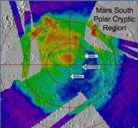 NASA's Mars Global Surveyor shows regional landscape near Mars' south pole called 'cryptic terrain.' Cool colors are areas with a low albedo (dark) and warm colors are areas which have high albedo (bright).