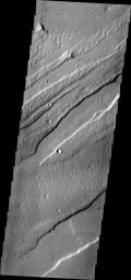 This image from NASA's Mars Odyssey shows lava flow in the lower portion shown is confined within the fault block walls of a graben. The graben are an extension of Sirenum Fossae into Daedalia Planum.