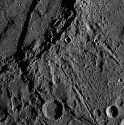 Just 21 minutes after NASA's MESSENGER spacecraft's closest approach to Mercury, the Narrow Angle Camera (NAC) took this picture showing a variety of intriguing surface features, including craters as small as about 400 meters (about 400 yards) across.