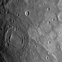 Shortly following NASA's MESSENGER spacecraft's closest approach to Mercury on January 14, 2008, the spacecraft's Narrow Angle Camera (NAC) instrument acquired this image as part of a mosaic that covers much of the sunlit portion of the hemisphere.