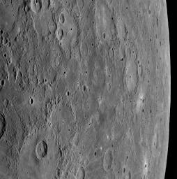 Just nine minutes after NASA's MESSENGER spacecraft passed 200 kilometers (124 miles) above the surface of Mercury, its closest distance to the planet during the January 14, 2008, flyby, the Wide Angle Camera (WAC) snapped this image.