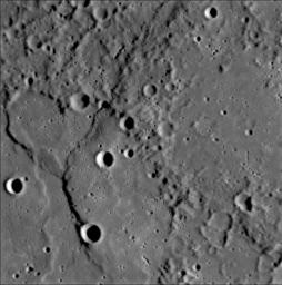 A complex history of geological evolution is recorded in this frame from the Narrow Angle Camera (NAC), part of the Mercury Dual Imaging System (MDIS) instrument, taken during NASA's MESSENGER's close flyby of Mercury on January 14, 2008.