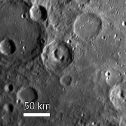 NASA's MESSENGER spacecraft's Narrow Angle Camera (NAC) on the Mercury Dual Imaging System (MDIS) acquired this view of Mercury's surface illuminated obliquely from the right by the Sun.