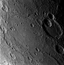 As NASA's MESSENGER spacecraft approached Mercury on Jnuary 14, 2008, the Narrow Angle Camera (NAC) of the Mercury Dual Imaging System (MDIS) snapped this image of the crater Matisse.