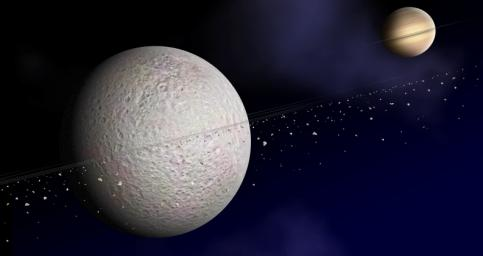 This is an artist concept of the ring of debris that may orbit Saturn's second-largest moon, Rhea. The suggested disk of solid material is exaggerated in density here for clarity.