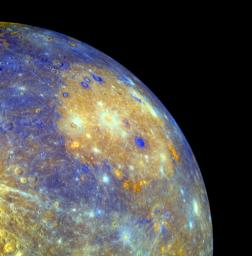 This false-color image of Mercury captured by NASA's MESSENGER spacecraft shows the great Caloris impact basin, visible here as a large, circular, orange feature in the center of the picture.