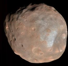 The High Resolution Imaging Science Experiment (HiRISE) camera on NASA's Mars Reconnaissance Orbiter took two images of the larger of Mars' two moons, Phobos, within 10 minutes of each other on March 23, 2008. This is the first.