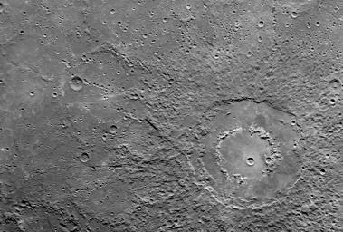 This scene was imaged by NASA's MESSENGER spacecraft's Narrow Angle Camera (NAC) on the Mercury Dual Imaging System (MDIS) during the spacecraft's flyby of Mercury on January 14, 2008.