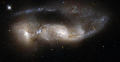 NGC 6621/2 (VV 247, Arp 81) is a strongly interacting pair of galaxies, seen about 100 million years after their closest approach. This image is part of a large collection of images of merging galaxies taken by NASA's Hubble Space Telescope.