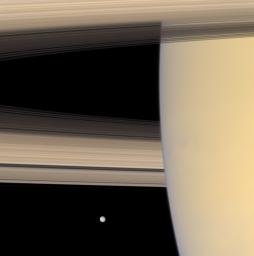 NASA's Cassini spacecraft looks beyond Saturn's limb toward the icy face of Mimas, the innermost of the planet's major moons. This view looks toward the sunlit side of the rings from about 3 degrees below the ringplane.