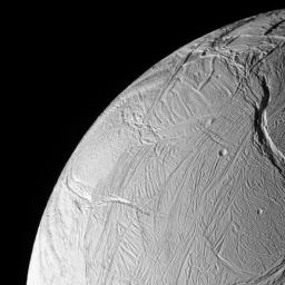 NASA's Cassini spacecraft acquired this view of Saturn's moon Enceladus just after the spacecraft passed within 25 kilometers (15 miles) of the surface on Oct. 9, 2008.