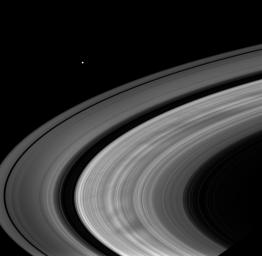 Broad, dark spokes in the B ring are clearly seen in this image of Saturn's rings taken by NASA's Cassini spacecraft on Oct. 19, 2008.