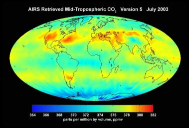 AIRS Mid-Tropospheric CO2, Version 5, July 2003