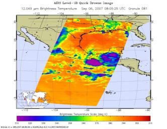 These infrared and microwave images were created with data retrieved by the Atmospheric Infrared Sounder (AIRS) on NASA's Aqua satellite, and show the remnants of the former Hurricane Felix over Central America, September, 2007.
