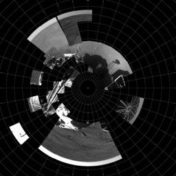 This image is a polar projection mosaic of all data received as of the end of sol 2 from the right eye of the Surface Stereo Imager (SSI) instrument onboard NASA's Phoenix Mars Lander.