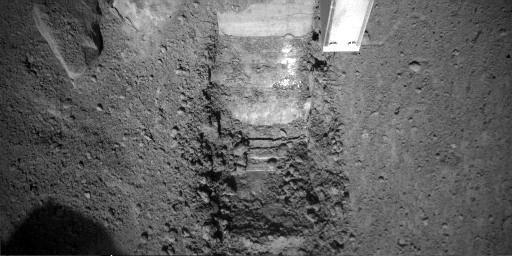 This image was taken by NASA's Phoenix Mars Lander's Robotic Arm Camera (RAC) on the ninth Martian day of the mission, or Sol 9 (June 3, 2008). The center of the image shows a trench informally called 'Dodo' after the second dig.