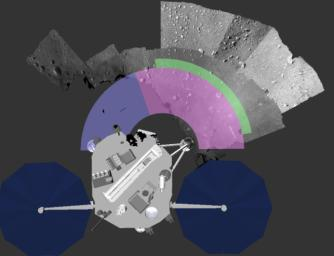This image shows NASA's Phoenix Mars Lander robotic arm work area with an overlay. The pink area was available for digging.