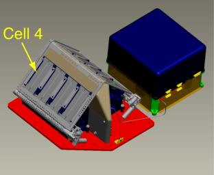 This is a computer-aided drawing of the Thermal and Evolved-Gas Analyzer, or TEGA, on NASA's Phoenix Mars Lander.