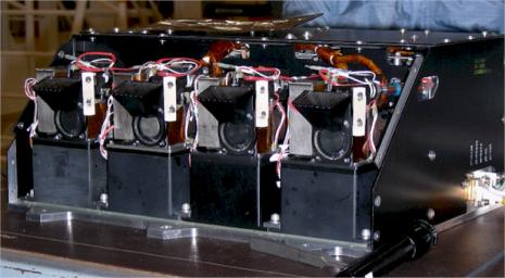 This image shows four Wet Chemistry Laboratory units, part of the Microscopy, Electrochemistry, and Conductivity Analyzer (MECA) instrument on board NASA's Phoenix Mars Lander. This image was taken before Phoenix's launch on August 4, 2007.