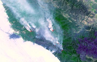 Fires near Big Sur, Calif., continued to burn unchecked when the Advanced Spaceborne Thermal Emission and Reflection Radiometer (ASTER) instrument on NASA's Terra satellite captured this image on Sunday, June 29, 2008.
