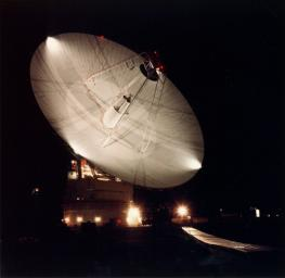 Night shot of the 70m antenna at Goldstone, California. The parabolic dish is 70m (230 ft.) in diameter. The Goldstone Deep Space Communications Complex, located in the Mojave Desert in California, is one of three complexes which comprise NASA's DSN.