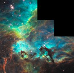 NASA's Hubble peers into a small portion of the nebula near the star cluster NGC 2074. The region is a firestorm of raw stellar creation, perhaps triggered by a nearby supernova explosion. It lies about 170,000 light-years away near the Tarantula
