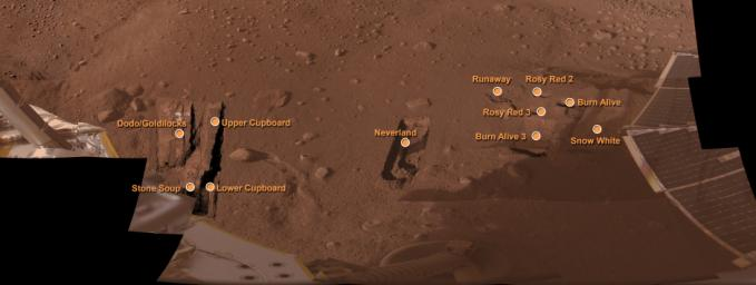 This mosaic of images taken by NASA's Phoenix Mars Lander shows Phoenix's workspace, informally named 'Wonderland,' with the major trenches and features that have been informally named as of August 19, 2008.